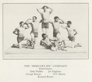Retzer was part of a gymnastic troupe. He's pictured on the bottom.