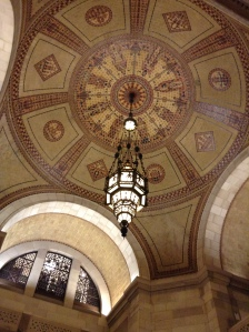Above the center rotunda is this light fixture.