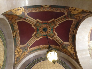 This ceiling fresco is on the north side of the building (down that long hallway) above the staircase.