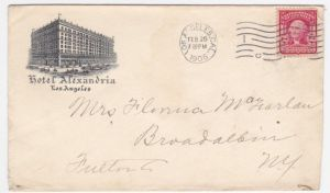Here's an envelope from 1906 the year that the Alexandria opened.