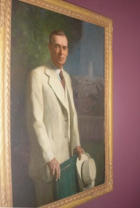 On one of the top floors there is an exhibit of mayoral portraits. It contains portraits of all the mayors of Los Angeles. This is Cryer. He was mayor when city hall was built. He looks great.
