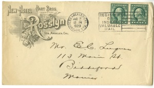 A Rosslyn Hotel envelope.