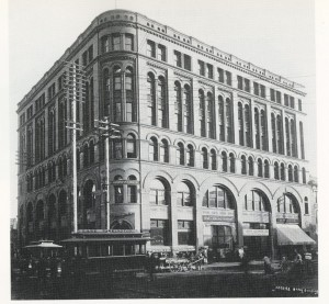 Seattle National Bank in Seattle 1890-1892. This building is attributed to Parkinson only.