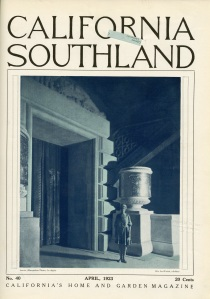 I was looking through old journals, for something else, when I found this. California Southland was a publication that was put out in the 20s. It appears to be something from a chamber of commerce entity and it was published in Pasadena.