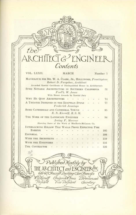 architect and engineer contents page