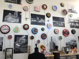 When you walk in there is definitely an emphasis on neon clocks.