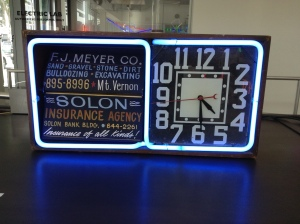 They sold neon clocks too. This table model had a price tag of $2,000.