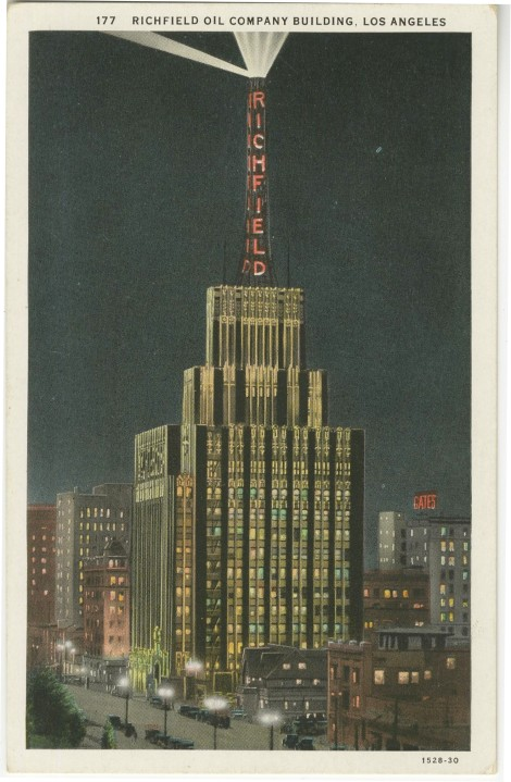 "On a postcard. The back says, ""One of the outstanding architectual accomplishments on the Pacific coast"" and ""The building is crowned by a tall Aviation Beacon of 40 million candle power..."""