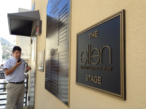 Then we went to the Ellen set. We spent five minutes trying to get in because Steven couldn't remember the password. He should have asked me. I bet I could have guessed it.