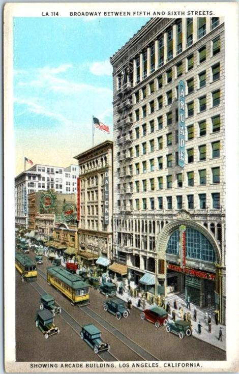 arcade building on postcard