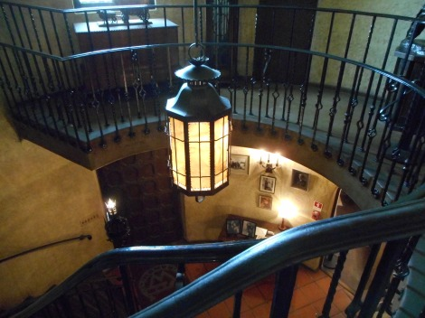 At the top of the staircase looking down.