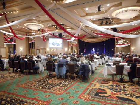 The event was held in this ballroom and approximately 100 people attended.